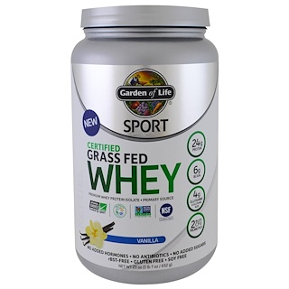 Garden of Life, Sport, Certified Grass Fed Whey Protein, Refuel, Vanilla, 1.4 lbs (652 g)