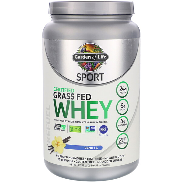 Sport, Certified Grass Fed Whey, Vanilla, 22.57 oz (640 g)