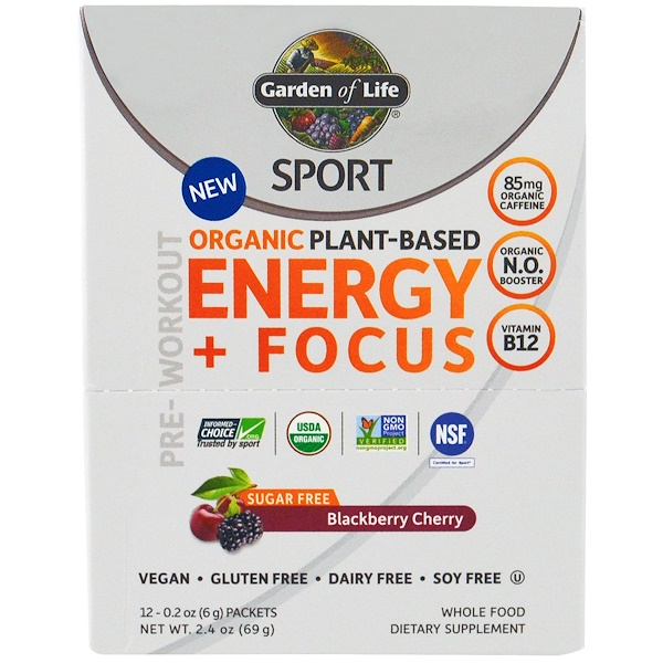 Garden of Life, Sport, Organic Plant-Based Energy + Focus, Pre-Workout, Sugar Free, Blackberry Cherry, 12 Packets, 0.2 oz (6 g) Each (Discontinued Item)
