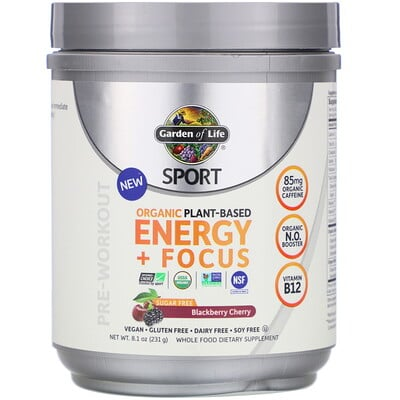 Sport, Organic Plant-Based Energy + Focus, Pre-Workout, Blackberry Cherry, 8.1 oz (231 g)
