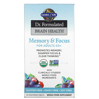 Garden of Life, Dr. Formulated Brain Health, Memory & Focus for Adults 40+, 60 Vegetarian Tablets