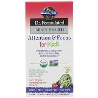 Dr. Formulated для мозга, внимания и концентрации у детей, вкус органического арбуза и ягод, 60 вкусных жевательных таблеток - фото