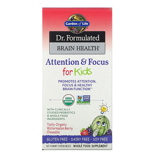 Garden of Life, Dr. Formulated Brain Health, Attention & Focus for Kids, Organic Watermelon Berry, 60 Yummy Chewables