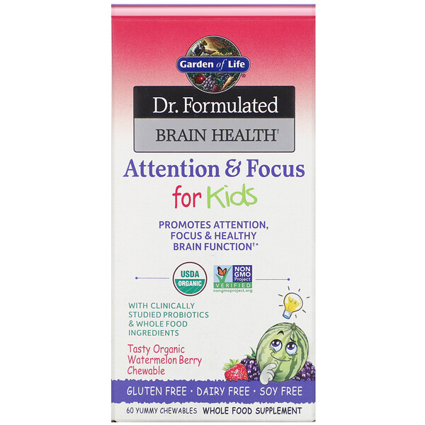 Dr. Formulated Brain Health, Attention & Focus for Kids, Watermelon Berry, 60 Yummy Chewables