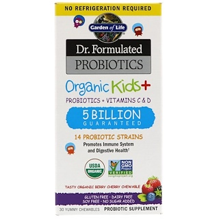 Garden of Life, Dr. Formulated Probiotics, Organic Kids +,  Probiotics + Vitamins C & D, Tasty Organic Berry Cherry,  5 Billion, 30 Yummy Chewables
