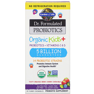 Гарден оф Лайф, Dr. Formulated Probiotics, Organic Kids +, Tasty Organic Berry Cherry, 30 Yummy Chewables отзывы