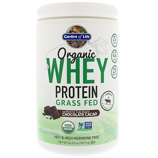 Garden of Life, Organic Whey Protein Grass Fed, Chocolate Cacao, 14.03 oz (397.5 g)