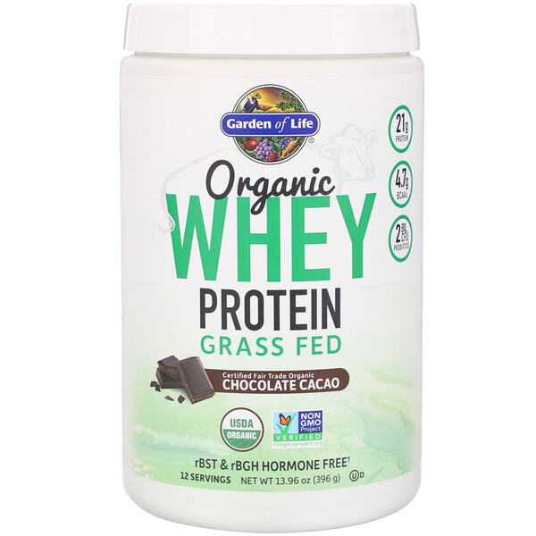 Organic Whey Protein Grass Fed, Chocolate Cacao, 13.96 oz (396 g)