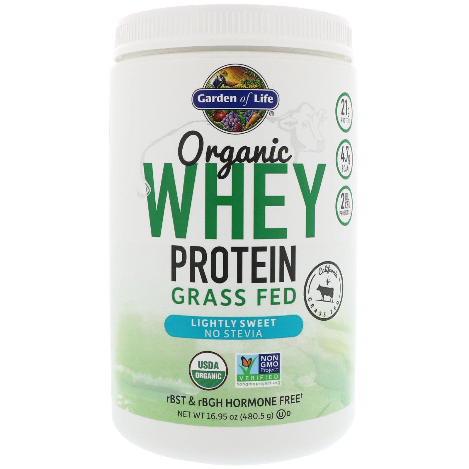 Garden of Life, Органический сывороточный протеин из молока коров, вскормленных на подножном корме, легкий сладковатый вкус, 16,95 унций (480,5 г)