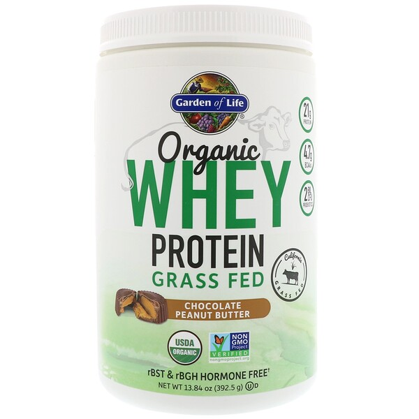 Garden of Life, 유기농 풀먹여 키운 유청 단백질, 초콜릿 피넛 버터, 13.84 oz (392.5 g)