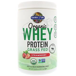 Garden of Life, Organic Whey Protein Grass-Fed, Strawberry, 13.88 oz (393.5 g)