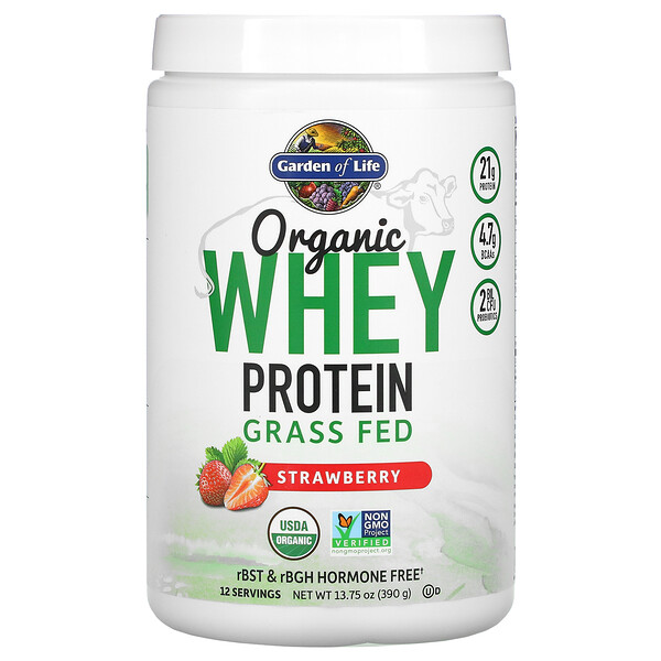 Organic Whey Protein Grass-Fed, Strawberry, 13.75 oz (390 g)
