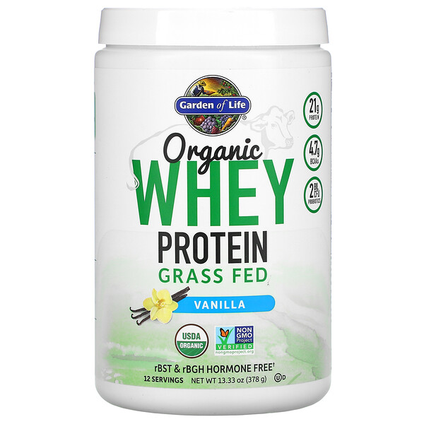 Organic Whey Protein Grass Fed, Vanilla, 13.33 oz (378 g)