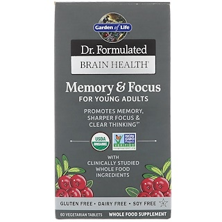 Garden of Life, Dr. Formulated Brain Health, Memory & Focus for Young Adults, 60 Vegetarian Tablets