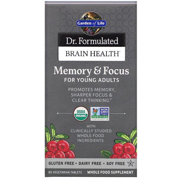 Dr. Formulated Brain Health, Memory & Focus for Young Adults, 60 Vegetarian Tablets