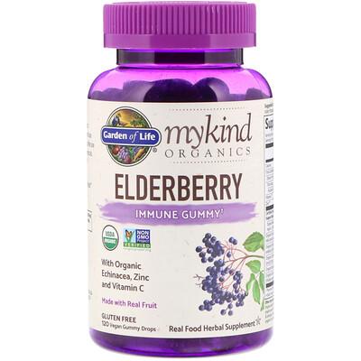 Garden of Life MyKind Organics, бузина, жевательные веганские конфеты для поддержки иммунной системы, 120 шт.