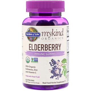 Garden of Life, MyKind Organics, Elderberry, Immune Gummy, 120 Vegan Gummy Drops
