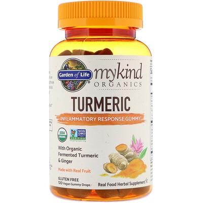 Купить Garden of Life MyKind Organics, куркума, противовоспалительные жевательные таблетки, 120веганских жевательных таблеток