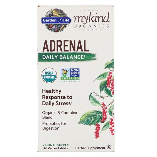 MyKind Organics, Adrenal, Daily Balance, 120 Vegan Tablets