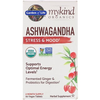 Garden of Life, MyKind Organics, Ashwagandha, Stress & Mood, 60 Vegan Tablets