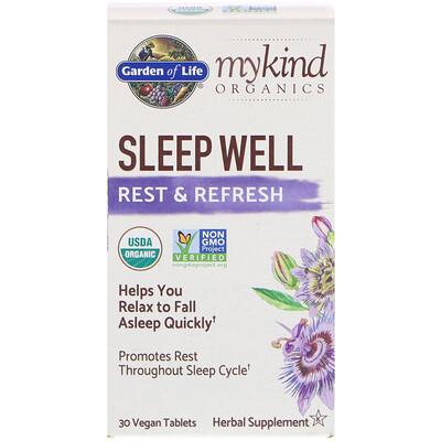 Купить Garden of Life MyKind Organics, Sleep Well, для крепкого сна, отдыха и восстановления, 30 веганских таблеток