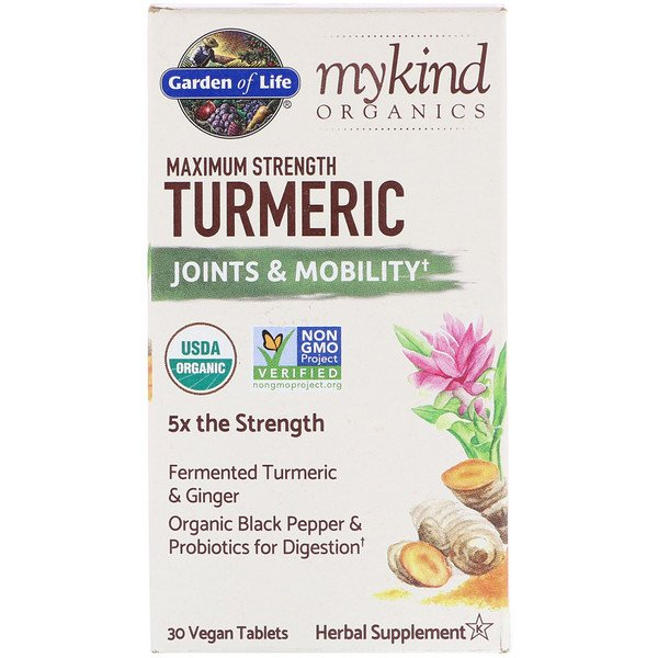 Garden of Life, MyKind Organics, Maximum Strength Turmeric, Joints & Mobility, 30 Vegan Tablets
