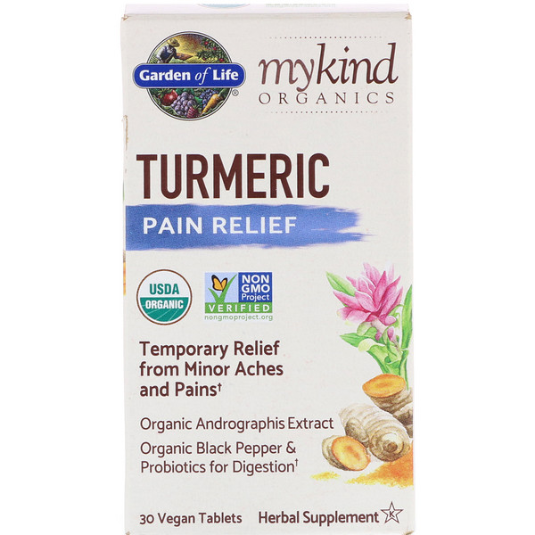 Garden of Life, MyKind Organics, Turmeric, Pain Relief, 30 Vegan Tablets (Discontinued Item)