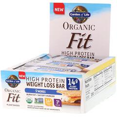 Garden of Life, Organic Fit, لوح البروتين العالي لخسارة الوزن, S'mores, 12 لوحا , 1.9 أوقية(55 غ) لكل منها