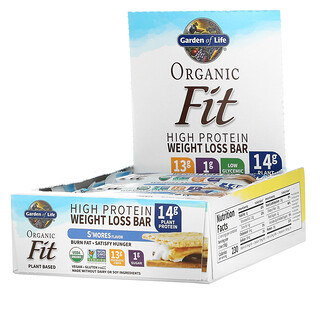Garden of Life, Organic Fit، ألواح بروتين فائقة لإنقاص الوزن، S'mores، 12 لوح، 1.94 أونصة (55 جم) لكل لوح
