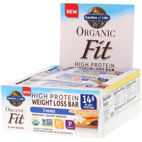 Organic Fit, High Protein Weight Loss Bar, S'mores, 12 Bars, 1.9 oz (55 g) Each