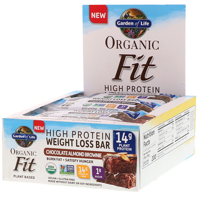 Garden of Life Organic Fit,高蛋白質減肥營養條,巧克力杏仁蛋糕,12條,每條1.9盎司(55克)