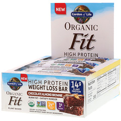 Garden of Life, Organic Fit, High Protein Weight Loss Bar, Chocolate Almond Brownie, 12 Bars, 1.9 oz (55 g) Each