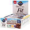 Garden of Life, Organic Fit, Barra com Alto Teor Proteico para Perda de Peso, Sabor Brownie de Chocolate com Amêndoas, 12 Barras, 55 g (1,9 oz) Cada