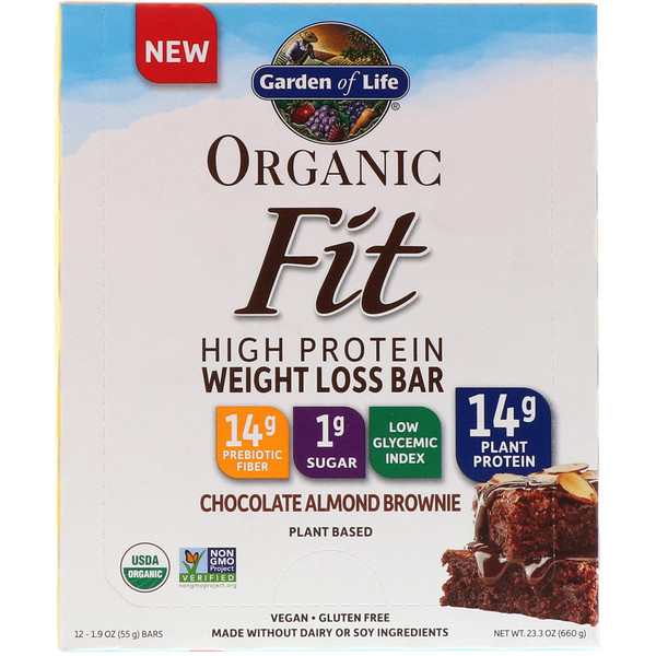 Organic Fit, High Protein Weight Loss Bar, Chocolate Almond Brownie, 12 Bars, 1.9 oz (55 g) Each
