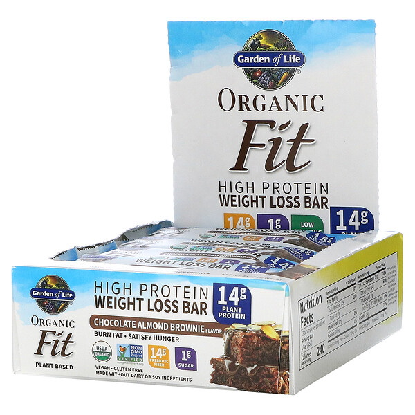 Garden of Life, オーガニックフィット、高タンパク減量バー、チョコレートアーモンドブラウニー、12本、各1.9 oz (55 g)