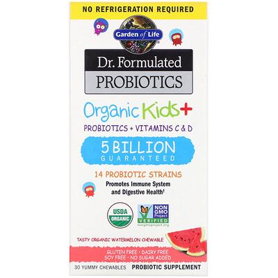 Dr. Formulated Probiotics, Organic Kids +, Tasty Watermelon, 30 Yummy Chewables
