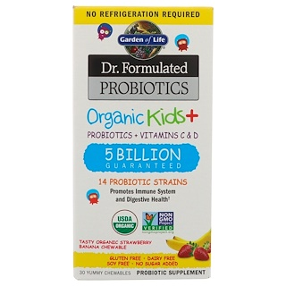 Garden of Life, Dr. Formulated Bio Kids-Probiotika +, Probiotika + Vitamine C & D, Billion 5, Bio-leckere Erdbeer-Banane, 30 Yummy Chewables