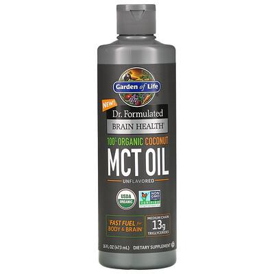 Garden of Life Dr. Formulated, добавка для здоровья мозга, 100% органическое кокосовое масло со среднецепочечными триглицеридами, с нейтральным вкусом, 473 мл (16 жидк. унций)