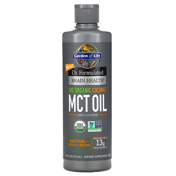 Dr. Formulated Brain Health, 100% Organic Coconut MCT Oil, Unflavored, 16 fl oz (473 ml)