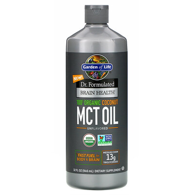Купить Garden of Life Dr. Formulated Для здоровья мозга, 100% Органическое кокосовое масло со среднецепочечными триглицеридами, с нейтральным вкусом, 946 мл (32 жидк.унции)