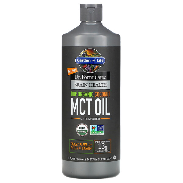 Dr. Formulated Brain Health, 100% Organic Coconut MCT Oil, Unflavored, 32 fl oz (946 ml)