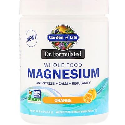 Купить Garden of Life Dr. Formulated, порошок магния из цельных продуктов, апельсин, 419, 5 г