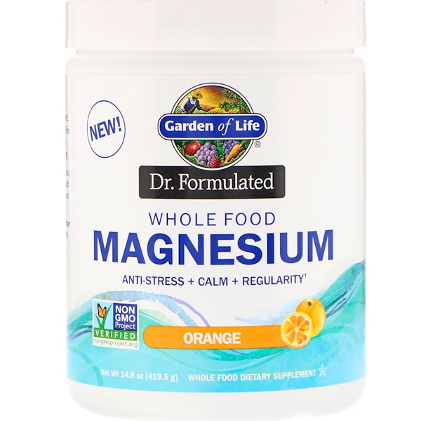 Garden of Life, Dr. Formulated, Whole Food Magnesium Powder, Orange, 14.8 oz (419.5 g)