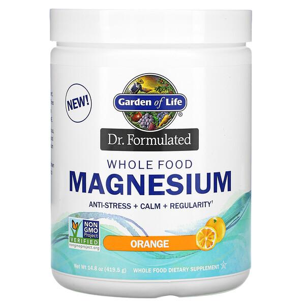 Dr. Formulated, порошок магния из цельных продуктов, апельсин, 419,5 г
