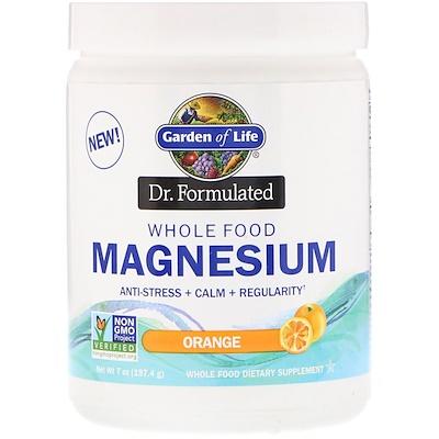 Купить Garden of Life Dr. Formulated, цельнопищевой магний, порошок, с апельсиновым вкусом, 197, 4г (7унций)