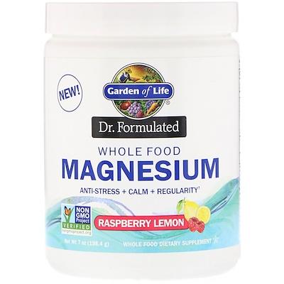 Купить Garden of Life Dr. Formulated, порошок магния из цельных продуктов, малина и лимон, 198, 4 г