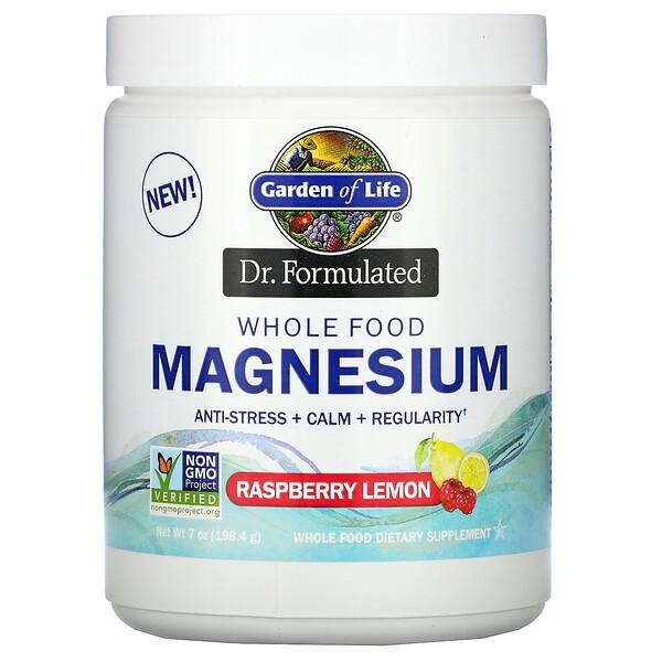 Dr. Formulated, Whole Food Magnesium Powder, Raspberry Lemon, 7 oz (198.4 g)