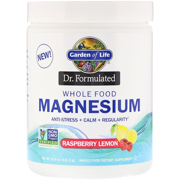 Garden of Life, Dr. Formulated, Whole Food Magnesium Powder, Raspberry Lemon, 14.9 oz (421.5 g)