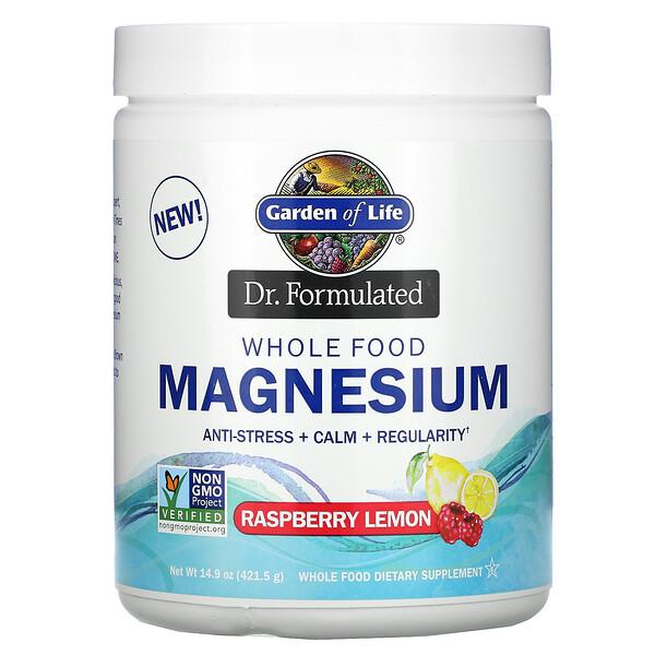 Dr. 포뮬레이티드, 천연 푸드 마그네슘 파우더, 라즈베리 레몬, 14.9 oz (421.5 g)