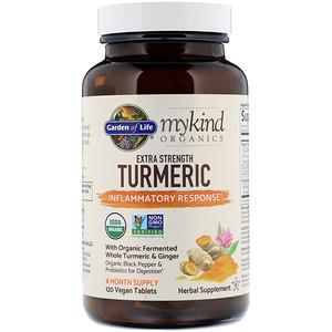 Гарден оф Лайф, MyKind Organics, Extra Strength Turmeric, Inflammatory Response, 120 Vegan Tablets отзывы покупателей